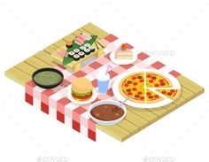 Food isometric icons on table. Dessert sweet, beverage and snack, hamburger and breakfast, vector illustration