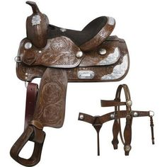 Double T Fully Tooled Youth / Pony Show Saddle Set. This saddle is fully tooled with floral tooling and features beautiful engraved silver accents! Saddle is accented with engraved silver on skirt Cowgirl And Horse, Western Horse Tack, Western Riding, My Horse, Western Saddles, Fly Repellant, Barrel Racing Tack, Horse Care Tips, English Saddle