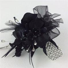 Black Orchid Silk Flower Wedding Crystal Feather Wrist Prom Corsage