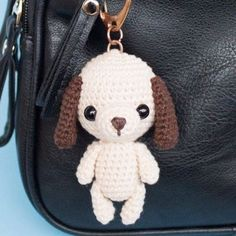 Little dog amigurumi – keychain/bag charm crochet pattern by Amylie Freeman. DIY Crochet Amigurumi Puppy Dog Stuffed Toy Free Patterns: Crochet Dog-Themed Animal Toys for Dog Lovers Diy Crochet Amigurumi, Crochet Bear, Amigurumi Patterns, Crochet Dolls, Free Crochet, Amigurumi Minta, Cat Amigurumi, Crochet Animals, Free Knitting