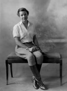 Miss Marybelle McIntyre in riding club attire in 1931. Jodhpurs, riding boots, riding gloves. Denver Post file photo