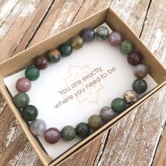 Fancy Jasper intensifies and lightens the feeling of well-being, helping one to lighten up and enjoy themselves more, yet in a subtle way. It can relieve fear, frustration and guilt, building an inner Lava Bracelet, Gemstone Bracelets, Gemstone Jewelry, Beaded Jewelry, Silver Jewelry, Silver Rings, Bracelet Packaging, Jewelry Packaging, Bracelet Display