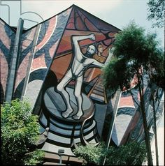 The March of Humanity in Latin America: Crossbreeding, relief painting on the Polyforum Cultural Siqueiros, built 1964-71