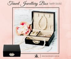 Travel Jewellery Box (with lock) | Store and protect your rings, necklaces, earrings, costume jewellery, watches and more. Ideal for holidays, weekend getaways or that perfect gift for a friend or bridesmaid. Available in Black (displayed), Soft Pink, Blue or Mauve.