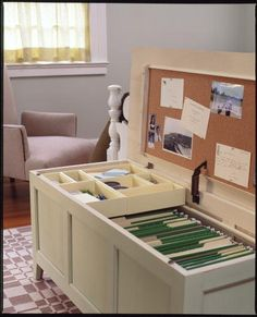 make a roll away chest into a filing cabinet... roll under bookshelf in public area to make a hidden office