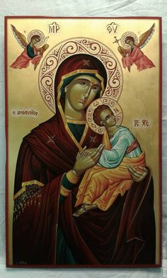 Купить Икона Божей Матери Марии Амолиндос вся в золоте - золотой, дерево, икона Mona Lisa, Artwork, Work Of Art