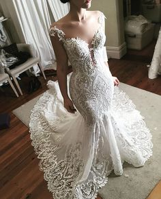 This elegant sheer neckline wedding dress so beautiful you'll want to get married - If you haven't yet found your wedding dress,this wedding dress is perfect for any wedding Luxury Wedding Dress, Lace Mermaid Wedding Dress, Used Wedding Dresses, Wedding Dresses Plus Size, Trendy Dresses, Bridal Dresses, Wedding Gowns, Fit And Flair, Wedding Dress Necklines