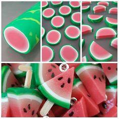 Fimo: Wassermelone am Stiel