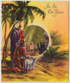 Vintage Greeting Card Christmas Religious Nativity Shepherds Sheep Foil L320