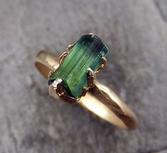 Raw Green Tourmaline Gold Ring Rough Uncut Gemstone Crystal recycled 14k  stacking cocktail statement byAngeline