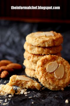 Almond Nestum Cookies/Nestum杏仁曲奇饼. Crunchy cookies that is full of flavour and wholesome goodness from almond and Nestum. A perfect healthy snack.