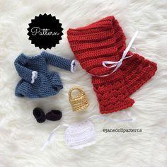 Crochet Doll Little Red Riding Hood Pattern by JaneDollPatterns