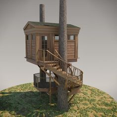 Modeled after Treehouse Point's Bonbibi, this small - yet bold - treehouse features a voluptuous staircase leading first to a covered deck and finally to a r...