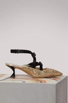 671aa2c611a Miu Miu Glitter slingback sandals Gold heels. These gorgeous glitter high  heels embody the eccentric