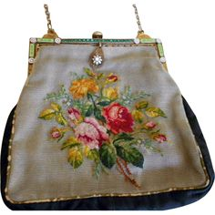 Antique Edwardian Jeweled and Enamelled Purse from Lady Sylvia at RubyLane.com