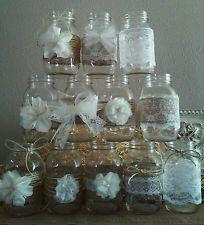 12 Rustic Mason Jar Burlap Lace Wedding Decorations