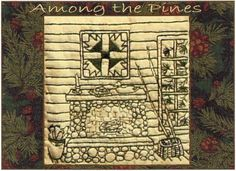 Among the Pines Fireplace Redwork Hand Embroidery Pattern