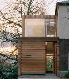Contrasting, two storey timber clad extension on semi-detached house Residential Architecture, Modern Architecture, 1930s Semi Detached House, Extension Veranda, End Terrace House, Architects London, 1950s House, Timber Cladding, Minimalist House Design