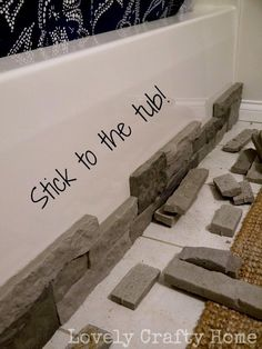Sticking stones on tub