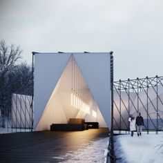 RAW:almond Restaurant - Studio British design firm have won a competition to build a pop-up restaurant over a frozen river in Winnipeg, Canada. This fantastic piece of temporary architecture. Restaurant En Plein Air, Pop Up Restaurant, Restaurant Design, River Restaurant, Floating Restaurant, Restaurant Concept, Cabinet D Architecture, Green Architecture, Architecture Design