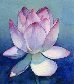 "Saatchi Online Artist: Piero Horna; Watercolor 2002 Painting ""Lotus flower"""