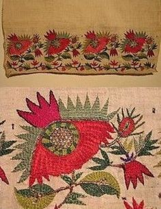 Greek 'tsevres' from Thrace.  The object would be called 'yağlık' in Turkish (large handkerchief, usually worn in the waist belt).  Motifs: stylized poppies with winding border. Silk, gold and silver thread on cotton - Asia Minor stitch. (From: The Greek Institute, Cambridge, Massachusetts).