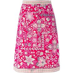 Emilio Pucci Vintage Floral a-Line Skirt ($559) ❤ liked on Polyvore featuring women's fashion, skirts, floral knee length skirt, pink skirt, cotton knee length skirt, knee length a line skirt and vintage high waisted skirts