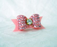 Dog Bow Swarovski Crystal Pave Dog Bow in Pink by AllAboutYoshi