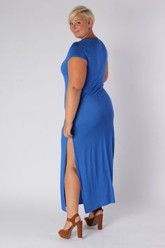 Plus Size Clothing for Women - Side Slit Maxi Dress - Royal Blue (Sizes 14 - 20) - Society+ - Society Plus - Buy Online Now!