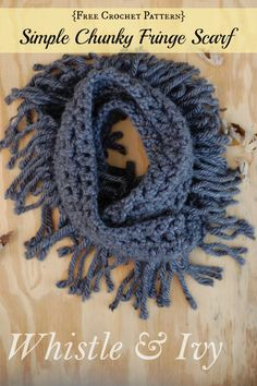 Simple Chunky Fringe Scarf - Super warm and cozy scarf crochet pattern. Make it in an hour! {Free pattern by Whistle and Ivy}
