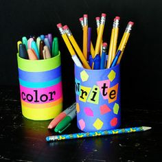 Bright colors stimulate the mind! A great back to school organizing craft.