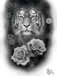 Custom tiger/roses #tiger #tigertattoo #roses #tattoodesign