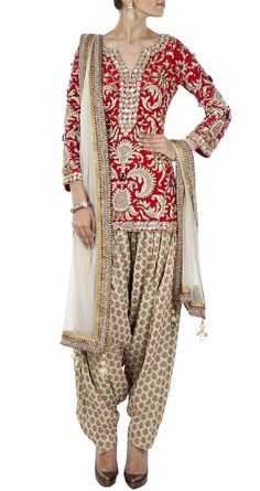 PAYAL SINGHAL - Red and beige embellished kurta set - i really like this - its quite a nice change from all the Punjabi sets you see in the shops at the moment - the clash of patterns is exciting but not overwelming and the colour palette is extreamly pleasing