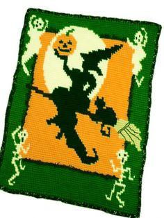 Halloween Witch Blanket Crochet Pattern.