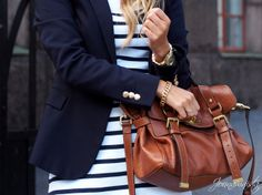 Navy stripes and gold details