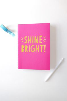 'Shine Bright' Notebook - Hot Pink