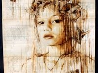 bird-crown-web Portraits Painted with Coffee on Century Old Ledger Paper by Michael Aaron Williams portraits painting coffee