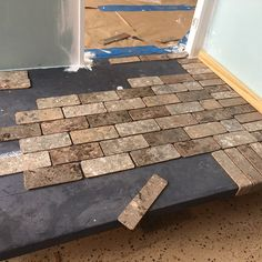 """I got this far """"bricking"""" the front porch floor on the before realizing the main adhesive I was using wasn't… Doll House Flooring, Porch Flooring, Brick Flooring, Diy Flooring, Garage Flooring, Brick Porch, Porch Tile, Home Porch, Diy Porch"""
