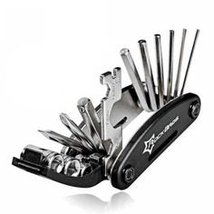 Bicycle 16in1 Multi Repair Tool Set, Free shipping option to most countries worldwide, secured payment and money back guarantee. 10% discount for loyal customers. For best shopping experience visit us, trainedtools.com Mtb, Bicycle Tools, Bicycle Maintenance, Bike Chain, Tool Steel, Bike Accessories, Road Bike, Gear Ring, Pocket Knives