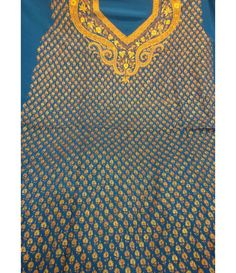 Blue Pure Hand Embroidery Kashmiri Needle Work Crepe Suit