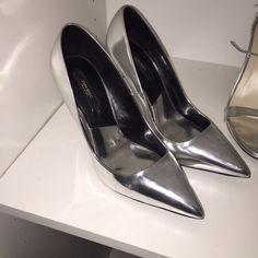 Zara metallic silver court heels This is a reposh, never worn by me or the previous owner (fit me too snug). The only flaw is shown on the second picture but not noticeable without the flash. Overall in great condition. Zara Shoes