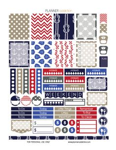 Free Weekly Printable Planner Stickers - Nautical - Erin Condren Life Planner