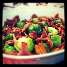 Brussel Sprouts with Pecans- Bacon/Turkey Bacon Optional Gluten Free, Paleo, Clean eating choice especially to serve as a part of your holiday spread!