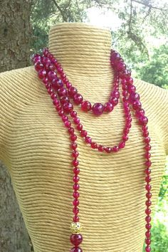 Very long red fuchsia agate tassel scarf by SabouriDesigns on Etsy