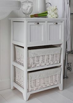 Side view of Connecticut white bathroom cabinet from white cottage Furniture