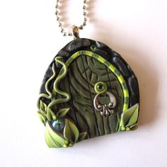 Green Fairy Door Necklace by Claybykim on Etsy, $15.00