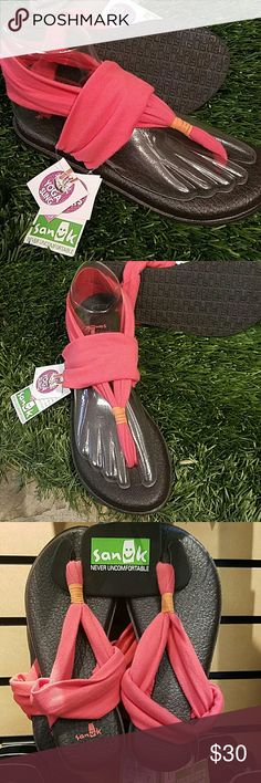 Yoga sling 2 Women's coral colored yoga slings. The footbed is made out of real yoga mats. Very comfy. Never been worn. New with tags! All offers considered and please feel free to ask questions. Sanuk Shoes Sandals