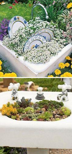 24 Creative Garden Container Ideas | Sink planters!