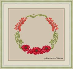 Summer floral wreath with red poppy flower, cross stitch pattern, nature modern xstitch by DailyMagicStitch on Etsy Counted Cross Stitch Patterns, Cross Stitch Designs, Cross Stitch Embroidery, Magic Design, Spring Design, Summer Wreath, Red Poppies, Digital Pattern, Stars And Moon