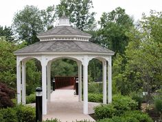 Vinyl Gazebo with pagoda roof and no bottom rails http://www.backyardunlimited.com/gazebos